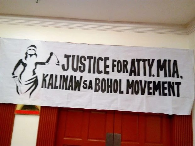 "Representatives from various sectors in the launching of ""Justice for Atty. Mia Kalinaw sa Bohol Movement"" to call for speedy justice for the killing Atty. Mia Manuelita Mascariñas-Green and to end impunity in the province of Bohol. Leo Udtohan/Inquirer Visayas"