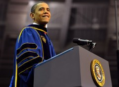 Obamas appearance at Notre Dame in May drew criticism from the bishops. (Photo: ND Office of News and Information.)