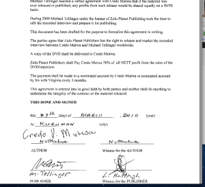 Page 2 Credo Mutwa & Zulu Planet/Michael Tellinger contract for DVD