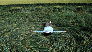 Patty Greer in a crop circle in UK