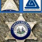 Panel: Droop Mountain, WVA pedocriminal site next to Children's center, prison & air strip. WVA Deputy Sheriff's badge design based on FBI pedocriminal Boy Lover symbol