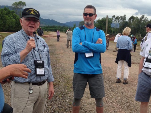 Chuck Meadows, left, and Larry Verlinde at the former An Hoa Combat Base in Vietnam. (Diana Nelson Jones/Post-Gazette)
