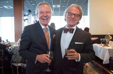 Tim McVay and Paul Cali pose for a portrait at Mark Flaherty and Mary McKinney's wedding on Sunday, Oct. 23, 2017 at Monterey Bay Fish Grotto in Mount Washington. (Antonella Crescimbeni/Post-Gazette).