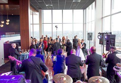 Guests dance at Mark Flaherty and Mary McKinney's wedding on Sunday, Oct. 23, 2017 at Monterey Bay Fish Grotto in Mount Washington. (Antonella Crescimbeni/Post-Gazette).