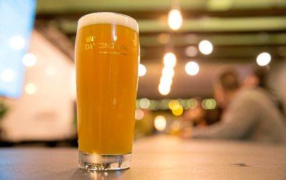 "A glass of Dancing Gnome Beer's double IPA ""Orbital Convoy"". (Antonella Crescimbeni/Post-Gazette)"