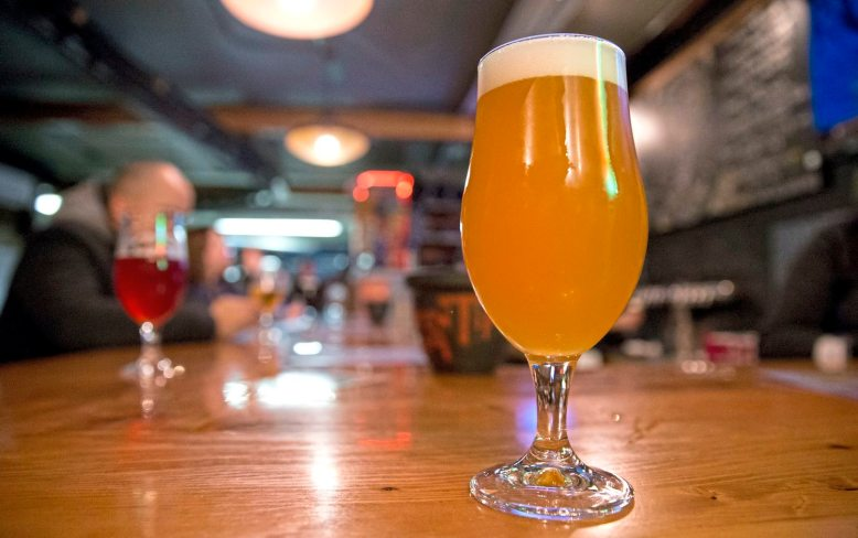 The Chameleon is one of the popular beers at Grist House Craft Brewery in Millvale. (Antonella Crescimbeni/Post-Gazette)