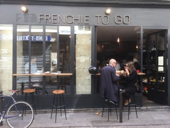 The exterior of Frenchie to Go on Rue Du Nil in Paris, France. (Patricia Sheridan/Post-Gazette)