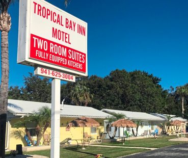 The bungalow style Tropical Bay Inn Motel has been operating since 1957 in Port Charlotte, Florida. (Patricia Sheridan/Post-Gazette)