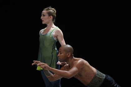 """Pittsburgh native Kyle Abraham with former New York City Ballet principal Wendy Whelan in """"Restless Creature,"""" which debuted at Jacob's Pillow in 2013. Mr. Abraham was one of four choreographers Ms. Whelan collaborated with for the project. (Photo by Christopher Duggan/Jacob's Pillow Dance)"""