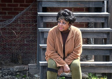 """Etta Cox as """"Ruby"""" during a rehearsal Sunday, April 22, 2018, of a Pittsburgh Playwrights production of """"King Hedley II"""" at August Wilson's boyhood home in the Hill District. (Nate Guidry/Post-Gazette.) (Nate Guidry/Post-Gazette.)"""