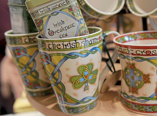 Clara Celtic Ware new bone china & Irish Breakfast tea at the Irish Design Center on South Craig St in Oakland. (Pam Panchak/Post-Gazette)