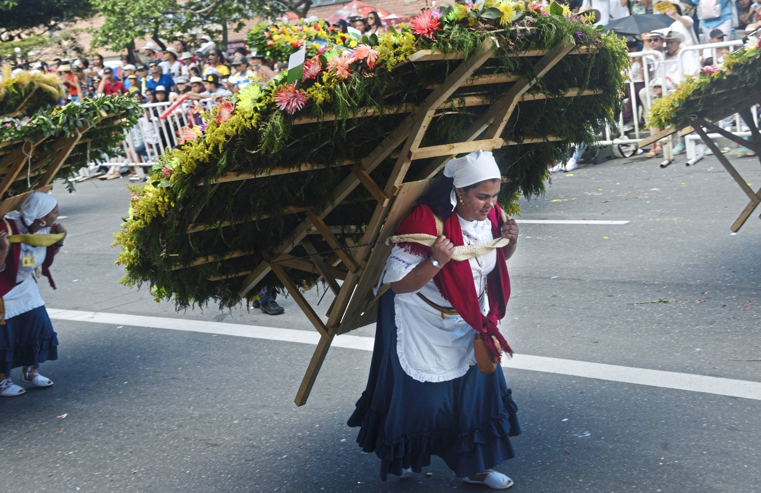 """A woman carries an elaborate flower arrangement on a wooden """"silletas"""" Monday Aug. 7, 2017, during the 60th anniversary of the flower festival in Medellin, Colombia. (Nate Guidry/Post-Gazette)"""