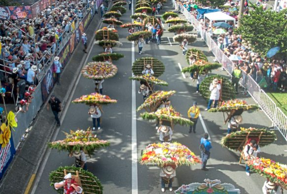 Thousands of people lined the streets of Medellin Monday, Aug. 7, 2017, for the 60th anniversary of the flower festival in Medellin, Colombia. (Nate Guidry/Post-Gazette)