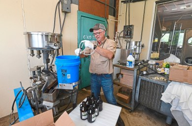 Aaron Sturges, owner of Sturges Orchards, pour hard cider into bottles at his farm Monday Aug. 27, 2018, in Fombell, Beaver County. (Nate Guidry/Post-Gazette)