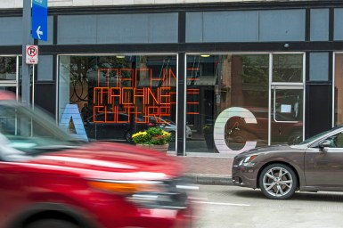 Cars pass by the Space gallery which currently is showcasing the Machine Culture exhibition on Wednesday, Oct. 24 , 2018, in Downtown. Machine Culture is comprised of work from international artists with pieces that all have moving parts. (Andrew Stein/Post-Gazette)