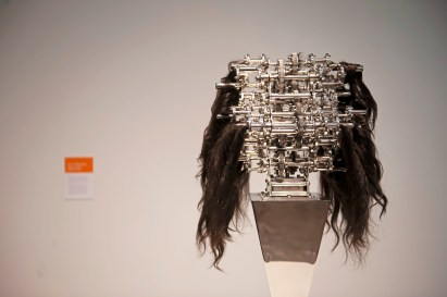 """""""Machine with Hair Caught In It"""" by Ujoo + Limheeyoung is seen at the Space gallery on Wednesday, Oct. 24 , 2018, in Downtown. It is part of the Machine Culture installation which is comprised of work from international artists with pieces that all have moving parts. (Andrew Stein/Post-Gazette)"""