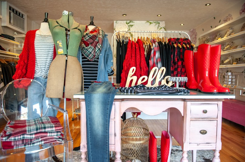 The view walking in the door at Vintage Grace Boutique in Dormont. (Andrew Stein/Post-Gazette)