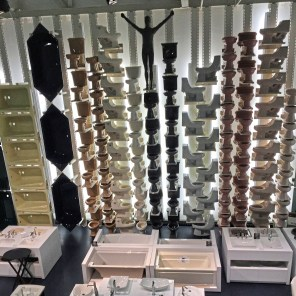 The Kohler Design Center displays stacks of toilets, tubs and sinks. (Patricia Sheridan/Post-Gazette)