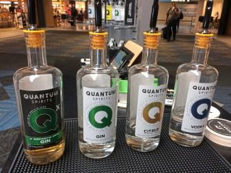 Quantum Spirits makes barrel-rested gin, left, gin, citrus vodka and vodka. (Bob Batz Jr./Post-Gazette)