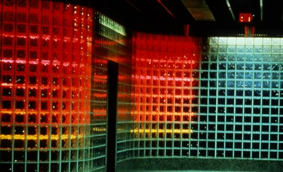 """""""Rivers of Light,"""" by Jane Haskell, 1985, neon, glass block, aluminum, 5000 square feet, Steel Plaza Subway Station, Pittsburgh. Photo credit: Clyde Hare. Slug is haskell0117"""
