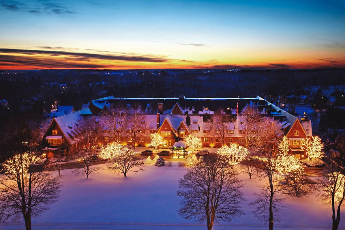 An ariel view of The American Club during the holiday season in Kohler, Wisconsin. (Kohler Co.)