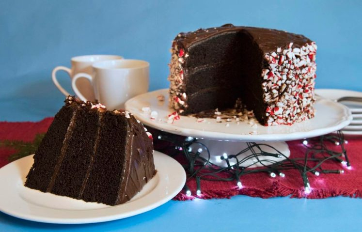 Peppermint chocolate cake made by Marlene Parrish at her home in Mt. Washington. (Haley Nelson/Post-Gazette)