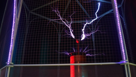 "The Carnegie Science Center is home to a 104 year old Tesla coil consisting of 6,000 feet of copper wire that gives off one million volts of electricity. The coil was made by a teenager named George Kaufman of Ben Avon. The center now mostly uses it during their ""High Voltage Show"" and in shows about light or electricity. (Katelyn Jones/Post-Gazette)"