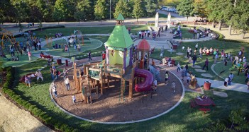 A view of the new Kid's Castle playground at the Cranberry Township Community Park after a dedication ceremony on September 26, 2013. The new park was designed by Pashek Associates of Pittsburgh, and was funded by numerous Cranberry businesses and organizations. (Matt Hafley/Post-Gazette)