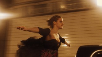"""Emma Watson in the Fort Pitt Tunnel during filming of """"The Perks of Being a Wallflower."""" (Summit Entertainment)"""