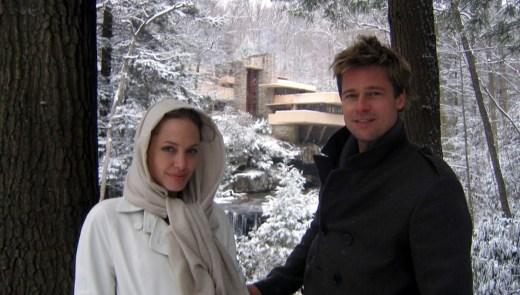 Angelina Jolie and Brad Pitt visit Frank Lloyd Wright's Fallingwater on December 7, 2006