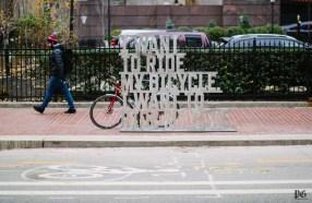 "Brett Yasko's public art bike rack, ""For Nate & Jakob"" can be seen near the corner of Penn and 7th on November 24, 2015. The Cultural District announced twelve new artist designed bike racks along Penn Ave. from 11th Street to Stanwix."