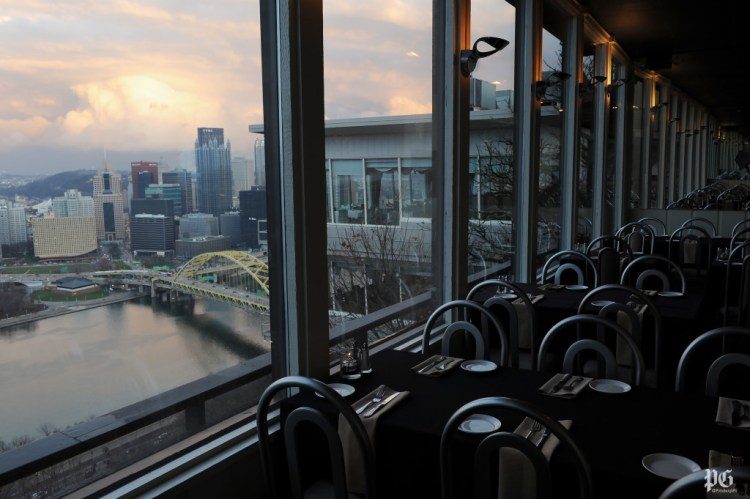 The view from the dinging room at Vue 412 on Mt. Washington. Rebecca Droke/Post-Gazette