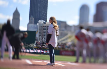 Pittsburgher Jackie Evancho was on hand to sing the National Anthem. (Steve Mellon/Post-Gazette)