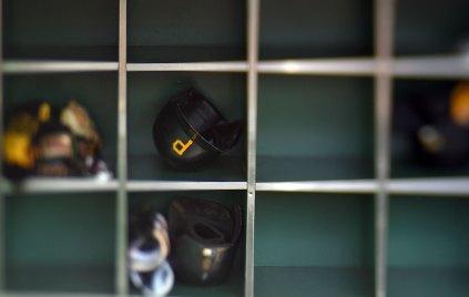Pirate helmets before the game. (Steve Mellon/Post-Gazette)
