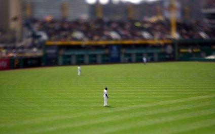 Starling Marte in left field. (Steve Mellon/Post-Gazette)