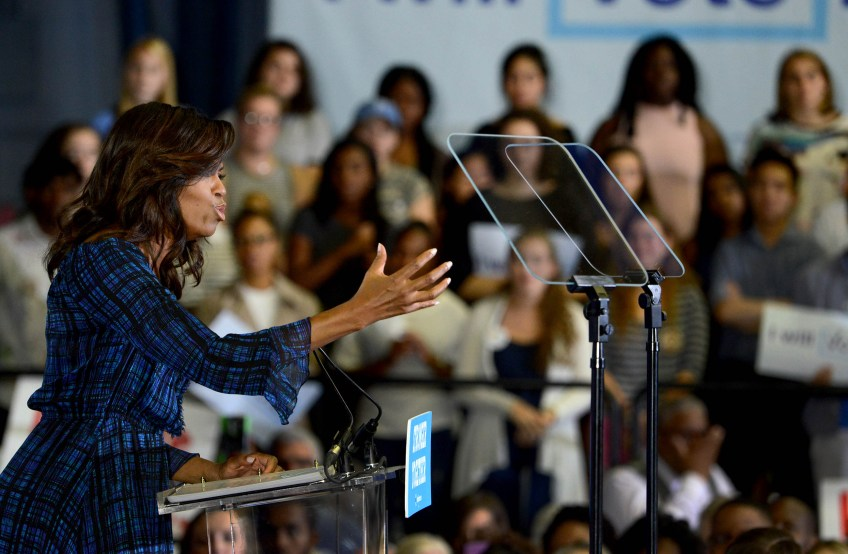 First Lady Michelle Obama campaigns for Hillary Clinton at the University of Pittsburgh.