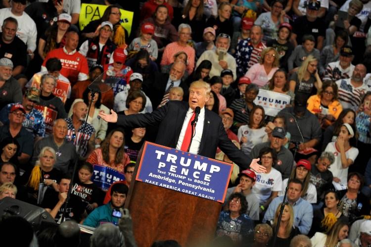 Republican Presidential candidate Donald Trump speaks at Ambridge High School. Michael Henninger/Post-Gazette