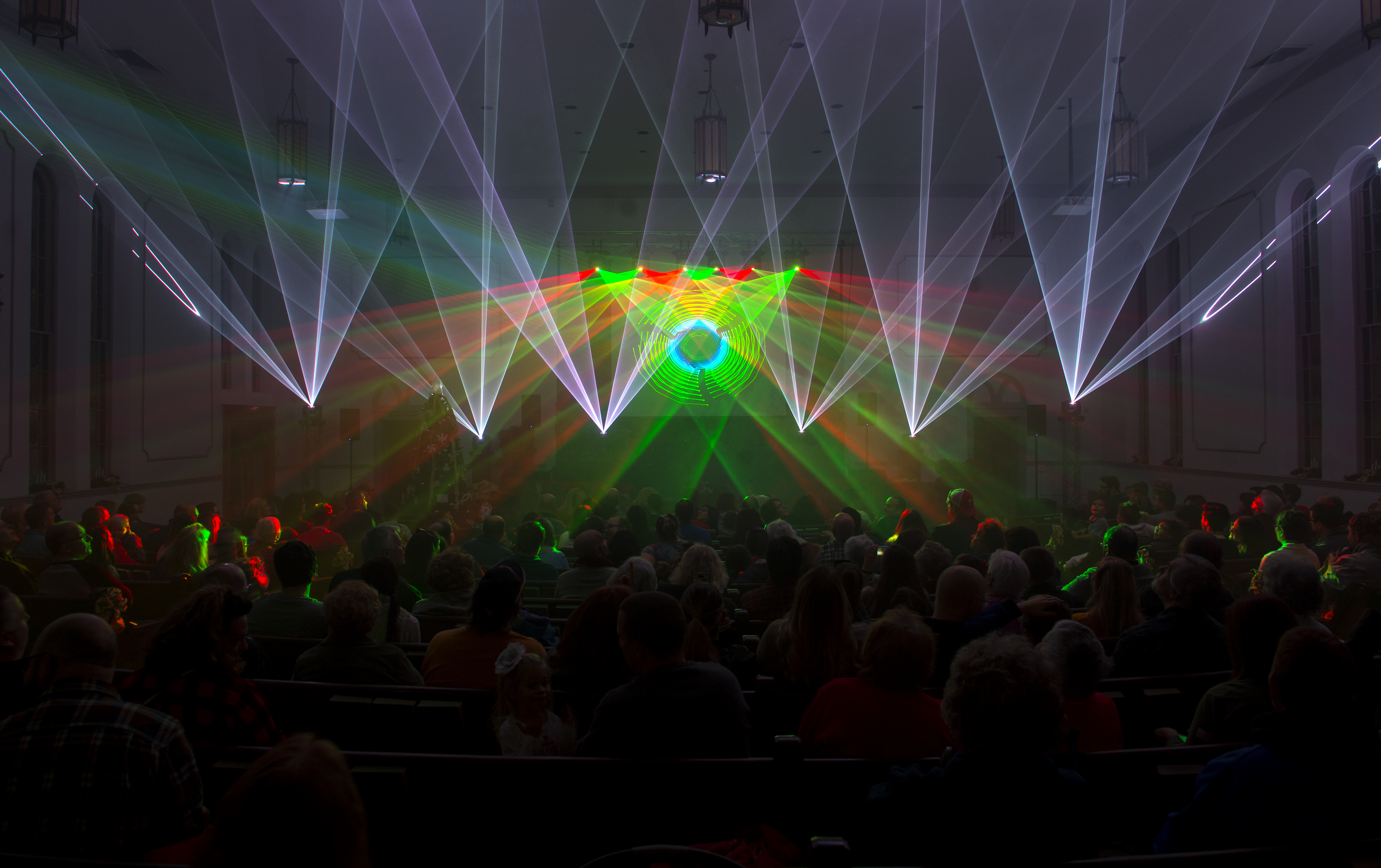 several hundred people gathered into the canonsburg united presbyterian church friday dec 15 2017 for the first of two christmas laser light shows