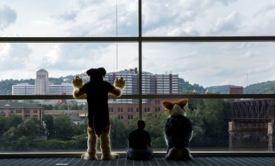 "From left to right: Drew Stultz, also known as ""Spudz,"" of Anchorage, Alaska, a german shepard, Erin Hildebrandt, also known as ""Lykaios,"" of Frankfort, Ky., a husky, and Rob Baird, also known as ""Kodaly,"" a corgie, look out the window of the Westin Convention Center on Thursday, June 29, 2017. Anthrocon 2017 runs until Sunday, July 2, and has all types of people dressed in a variety of costumes, also known as furries. (Antonella Crescimbeni/Post-Gazette)"