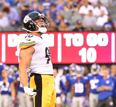 Pittsburgh Steelers T.J. Watt celebrates after he sacks the Giants Josh Johnson for the second time in the first half August 11, 2017, at MetLife Stadium in East Rutherford, NJ. (Peter Diana/Post-Gazette)