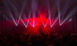 Several hundred people gathered in the Canonsburg United Presbyterian Church Friday Dec. 15, 2017, for the first of two Christmas laser light shows. George Dodsworth, a member of the church and president of Lightwave International, created the laser show. (Nate Guidry/Post-Gazette)
