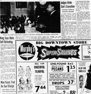 The Pittsburgh Press story about Dr. King's visit to Pitt on Nov. 2nd, 1966