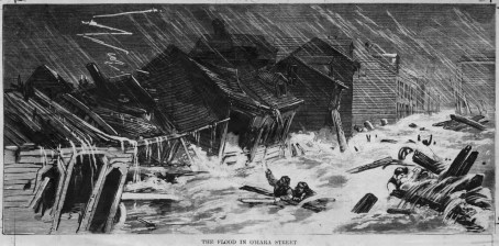 OHara Street during the flood, depicted in Harpers Illustrated.
