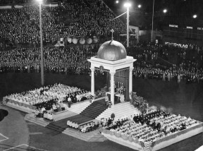 Here is the outdoor sanctuary for a Eucharistic rally at Forbes Field on Oct. 5, 1930. (Pittsburgh Press photo)