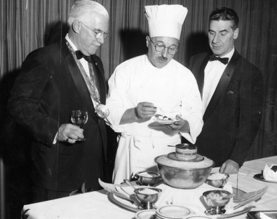 Meal for gourmets at the old Park Schenley restaurant, 1958 (Photo by Al Hermann, The Pittsburgh Press)