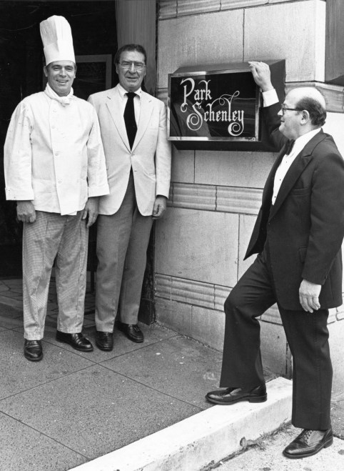 Frank Bruni (in the middle) and his colleagues in front of the Park Schenley restaurant, 1983 (Pittsburgh Press photo)