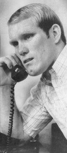 Terry Bradshaw on the phone with his parents, shares the news that he was drafted as a Steeler (AP photo)