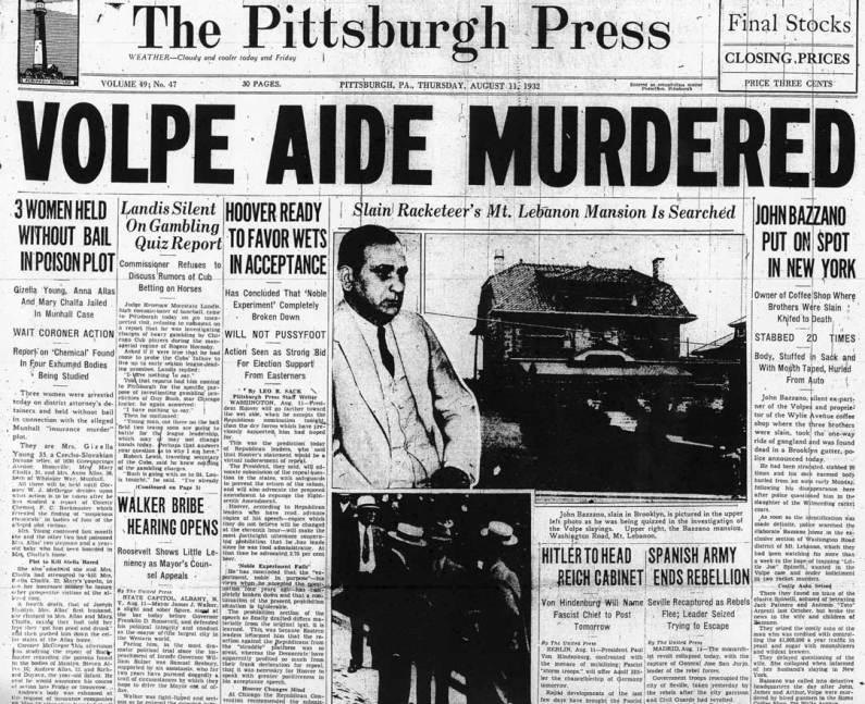 Newspaper coverage of the Bazzano murder.