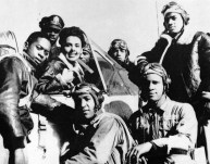 Singer Lena Horne poses with cadets at the Tuskegee Airbase in Tuskegee, AL, in 1945. (Photo by Associated Press)