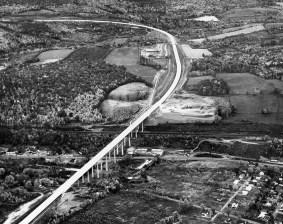 The Pennsylvania Turnpike Commission photo shows the 1627-foot-long Clarks Summit Bridge at Scranton Interchange (1957)